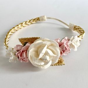 Other - Ivory, Light Pink & Gold Floral Baby Headband